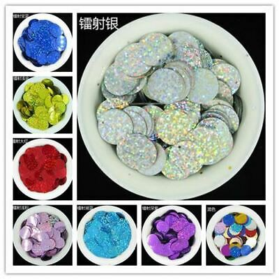 500pcs 20mm flat large round PVC Laser/holographic loose sequins Paillette sewin
