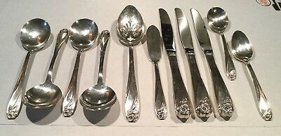 Vintage Silver Plate Flatware Mixed Lot- 11 Pieces Rogers Bros. Daffodil Pattern