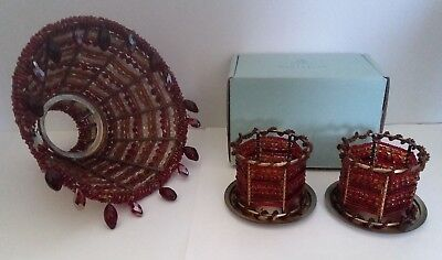 Partylite Moroccan Spice Tealight Rings W/ Lampshade, Good Pre-Owned Condition