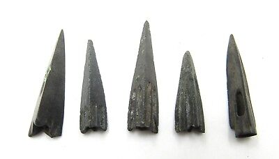 Authentic Lot Of 5 Ancient Scythian Bronze Arrow Heads - E428