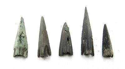 Authentic Lot Of 5 Ancient Scythian Bronze Arrow Heads - E429