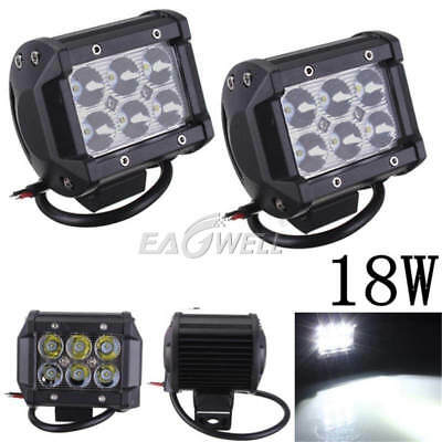 2Pcs 4'' Cube 18W 6 LED Car Work Lights Pods Spot Offroad Lamp For ATV JEEP UTE