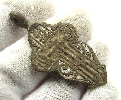 Authentic Medieval / Post Medieval Bronze Cross Pendant - Wearable - E437