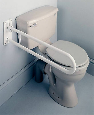 Double Bar Drop-Down Safety Grab Hand Rail Disabled Toilet Disability Support
