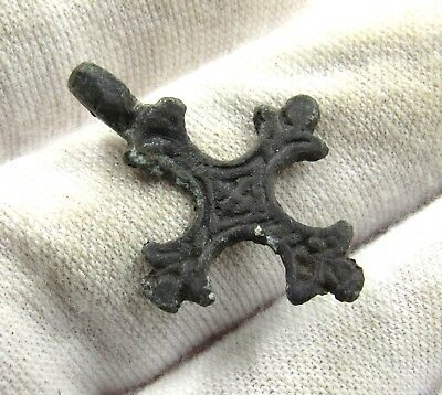 Authentic Medieval Viking Cross W/ Runic Motif - Wearable - E440
