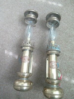 A Pair Of Hand Made  Brass White Star Electric Wall Lights