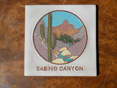 "McKusick Tile Sabino Canyon, Southwest Scene, Signed 5.75"" 1991 18/1000"