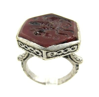 Post Medieval Silver Ring W/ Carved Intaglio Carnelian Pegasus - Wearable - E442