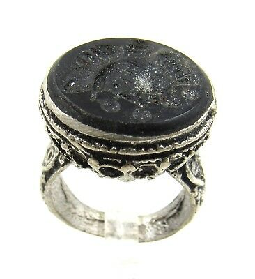 Post Medieval Silver Ring W/ Carved Intaglio Bust - Wearable - E443