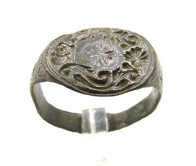 Authentic Medieval Crusaders Bronze Heraldic Crest Seal Ring - Wearable - E450