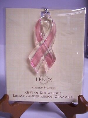 Lenox Gift of Knowledge Breast Cancer Ornament - New!