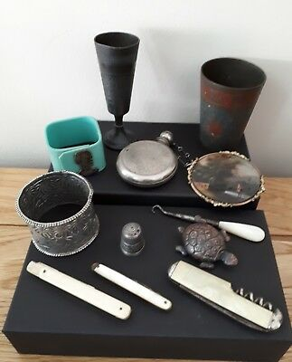 ANTIQUE/VINTAGE COLLECTION OF BITS & PIECES INC BRASS,MOTHER of PEARL