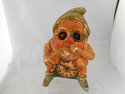 """Rare Antique """"DOC"""" Snow White Dwarf Mantel Clock with Moving Eyes -English Made"""