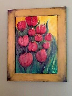Original Acrylic Painting on Canvas Flowers Home Decor Wall Art Framed