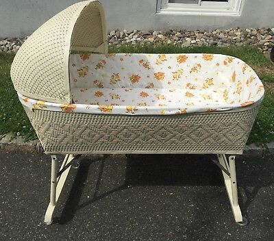 Vintage Wicker Baby Bassinet Cradle With Mattress And Canopy Top, Easy Fold Legs