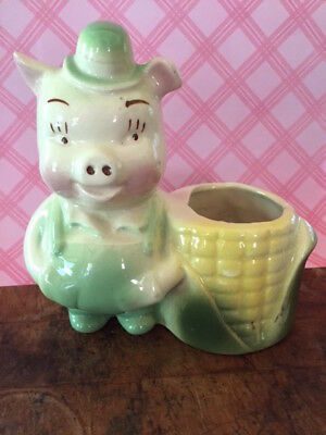 Vintage Kitsch Pottery Anthropomorphic Pig  Planter with Corn~1950's Cute!!!
