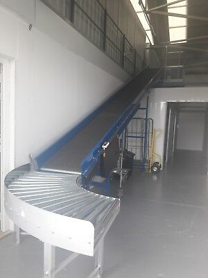 3 Phase Electric Mezzanine elevated Conveyor including 2x roller conveyor