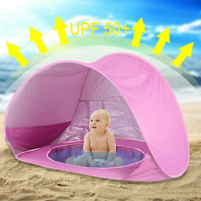 Baby Pool Tent Kids Beach Tent with Pool UV Protection Sun Shelter Infant Pink c