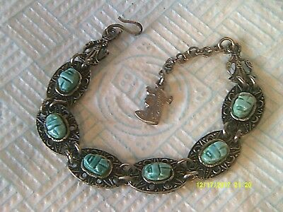Art Deco Egyptian Revival Scarabs Bracelet