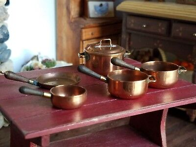 Dollhouse Miniature Artisan Country Treasures England Copper Pots Pans Lot 1:12