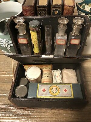 Antique Medical RX Apothecary Case with contents