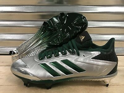 new style b4877 3b4ec Adidas Adizero Afterburner 4 Baseball Cleats Silver Green Chrome SZ (  By4116 )