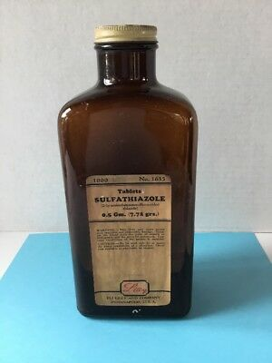 Apothecary Vintage Eli Lilly Brown glass Bottle Pharmacy Bottle medicine w/ cap