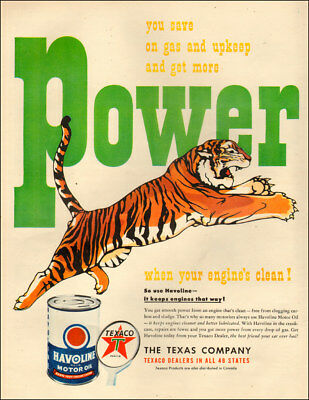 1949 vintage AD TEXACO Havoline Motor Oil  Power! Leaping Tiger! 071018