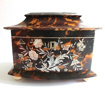 Vintage Antique Faux Tortoise Shell and Inlaid Mother of Pearl Tea Caddy.