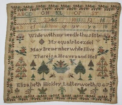 ANTIQUE NEEDLEWORK SAMPLER by ELIZABETH HICKLEY 1847 LUTTERWORTH Leicestershire
