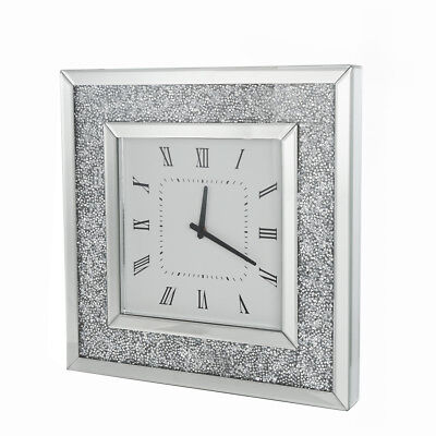 Crushed Diamond Crystal Mirrored Glass Wall Clock Square Wall Clock 50CM Silver