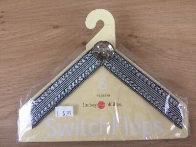 Lindsay Phillips Switch Flops Strap Vanessa Black and Silver Size Small UK 2,3
