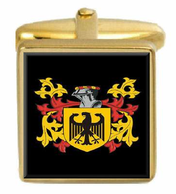Select Gifts Burness England Family Crest Surname Coat Of Arms Cufflinks Personalised Case