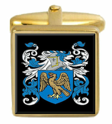 Select Gifts Firebrass England Family Crest Surname Coat Of Arms Cufflinks Personalised Case