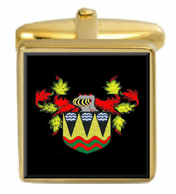 Select Gifts Gurnell England Family Crest Surname Coat Of Arms Cufflinks Personalised Case
