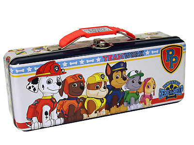 TIN BOX COMPANY |  PAW PATROL TIN PENCIL BOX | w/CARRY ALL HANDLE