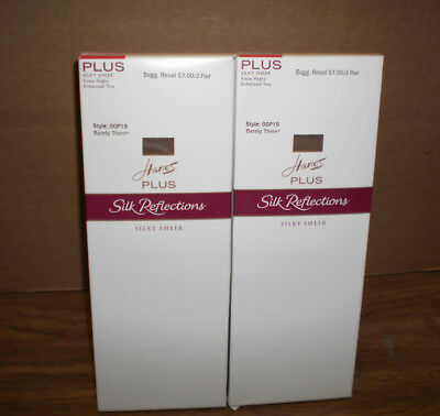 New Women's Hanes  Plus 4 Pairs Silk Reflections Barely There  Knee Highs OSFM