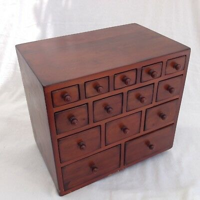 Small Chest Of Drawers Vintage Craft, Jewellery, Spice, Sewing Box, mahogany