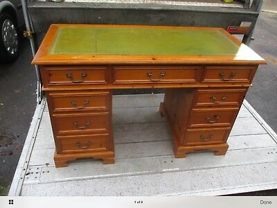 Antique Style Solid Pine Pedestal Desk Green Leather Top.