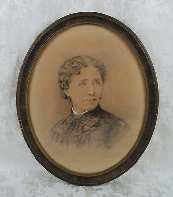 Antique Oval 19th Century Charcoal Portrait Painting of Victorian Woman Signed