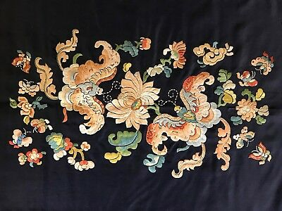 Antique Chinese hand embroidery, butterflies,flowers, ca.1900,mint & magnificent