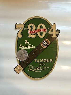 MINT OLD ORIGINAL 1920s SULLIVAN 7-20-4 CIGAR ADVERTISING SIGN DECAL FREE SHIP
