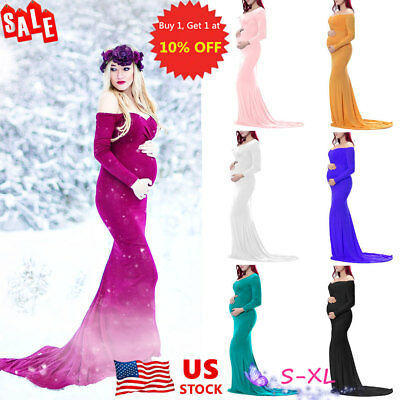 US Pregnant Womens Long Maxi Dress Maternity Long Sleeve Party Photography Gown