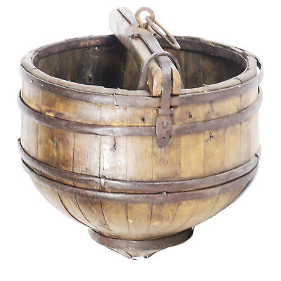 "Unusual Antique Chinese Wooden Water Bucket with Wrought Iron Strapping 18"" Dia"