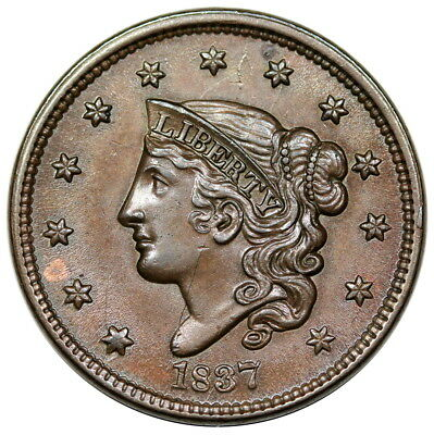 1837 Coronet Head Large Cent, Head of '38, N-9, MDS, PCGS MS63BN