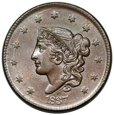1837 Coronet Head Large Cent, Plain Cords, Medium Letters, N-1, R.3, PCGS MS64BN