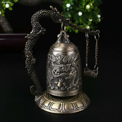 China Buddhism Brass Copper Carved Statue Lotus Buddha Dragon Bell Clock 5F94