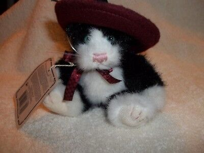 """Adorable Boyds """"Investment Collectibles"""" Plush Cat With Felt Hat"""