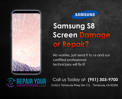 Samsung Galaxy S8 Cracked Broken Screen Glass Repair Replacement Mail In Service