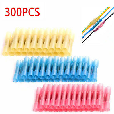 300Pcs Heat Shrink Insulated Butt Crimp Wire Connector Terminals Assortment